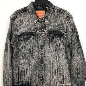 Levis Denim Trucker Jacket Black Men Size XL